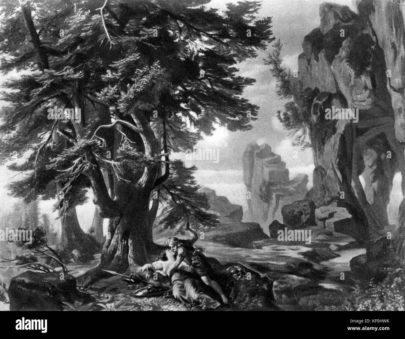 Siegfried  by Richard Wagner. Set design by Josef Hoffmann.  Caption: Brünnhilde's rock.  RW: German composer - Stock Image