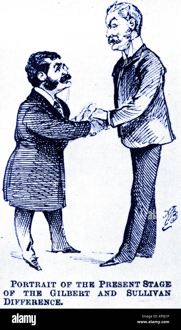 Gilbert and Sullivan make amends. The 'Carpet Quarrel' settled: cartoon by Alfred Bryan in the magazine - Stock Image