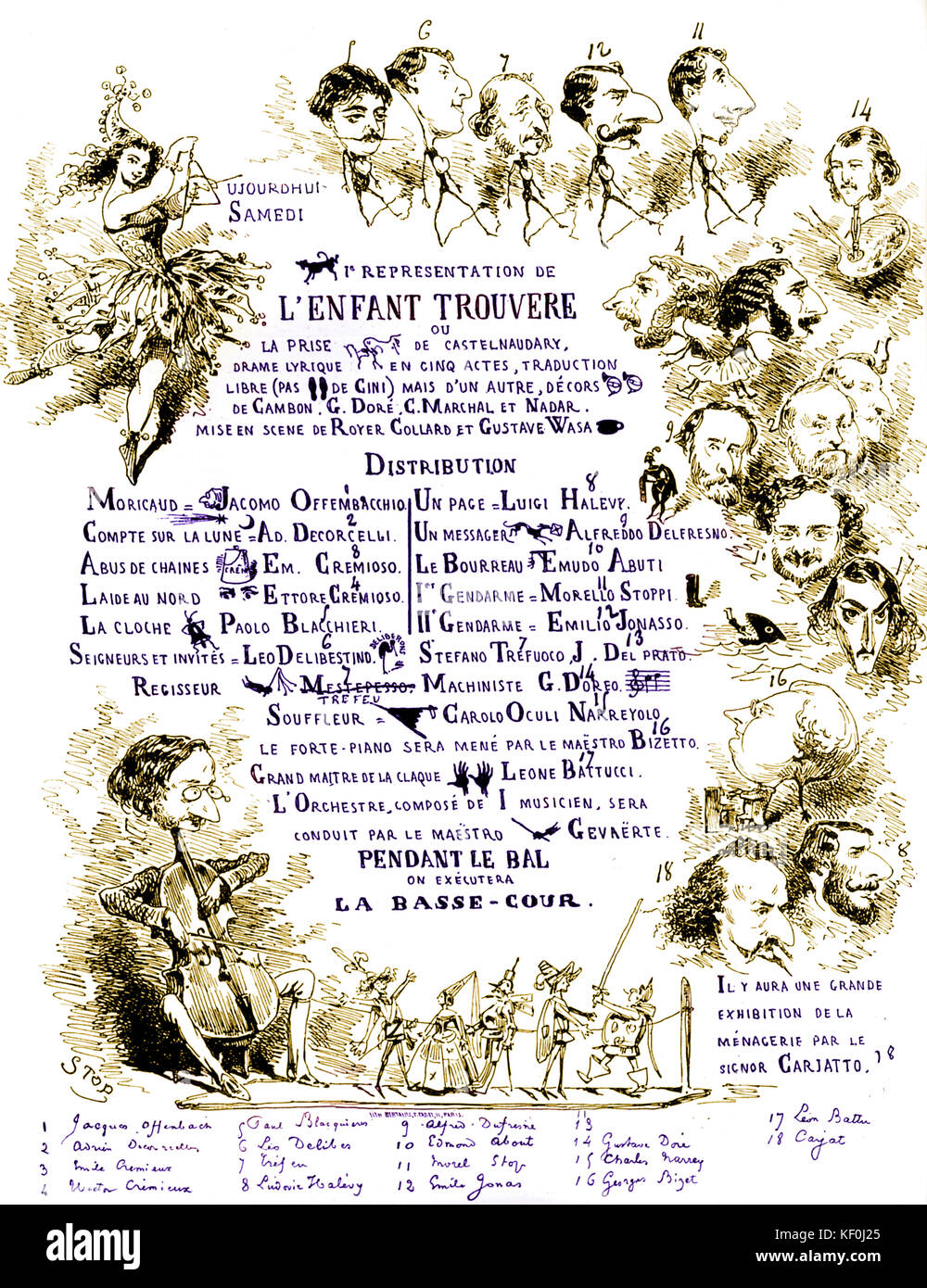 Poster for spoof performance of Verdi by Offenbach. 'L'Enfant Trouvere' based on Il Trovatore . Names have been Stock Photo
