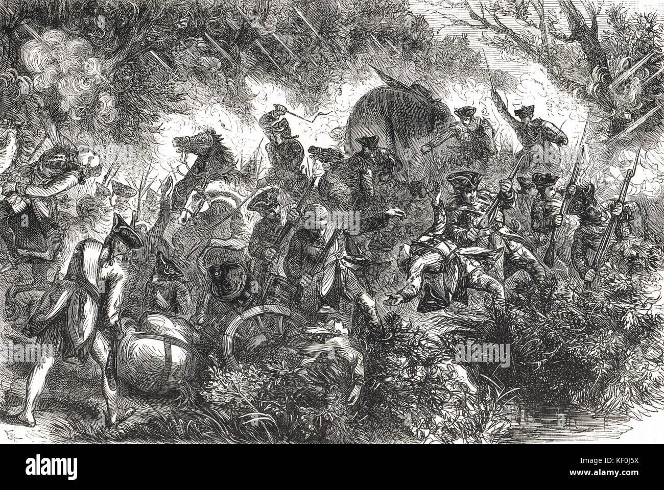 Battle of the Monongahela, 9 July 1755 (Braddock's Defeat). - Stock Image