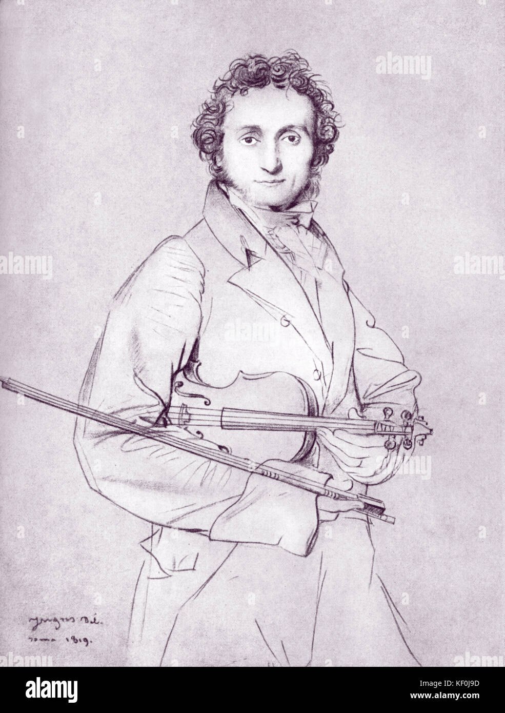 Niccolo paganini with his violin by ingres 1819 pencil drawing italian violinist and composer 1782 1840