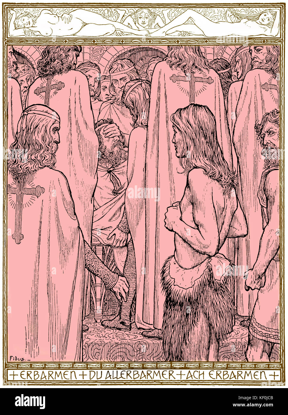 Richard Wagner 's opera  Parsifal - drawing by Fidus. Caption reads 'mercy, All-merciful, mercy'.  RW: - Stock Image