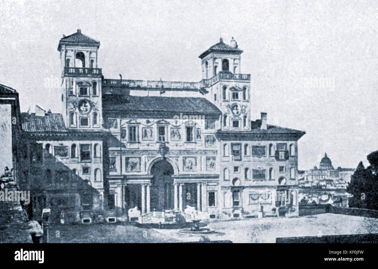 Villa Medici on Monte Pincio in Rome - where Hector Berlioz won music prize. French composer, 11 December 1803  - Stock Image