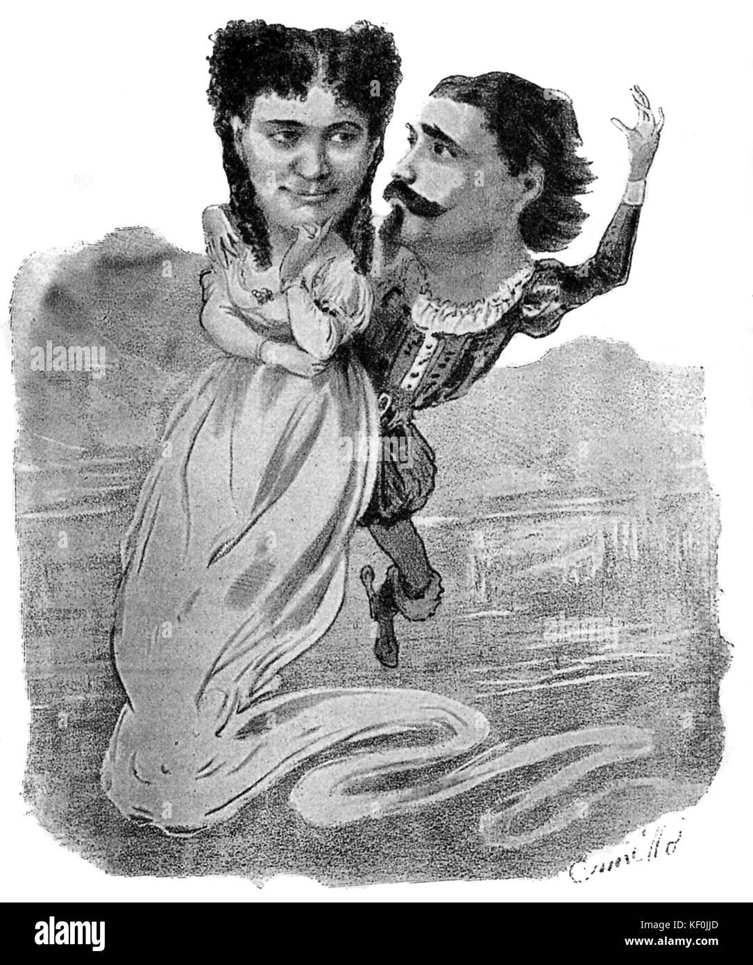 The final aria of Lucia di Lammermoor by Donizetti. Caption reads: 'Se congiunti fummo in terra lo saremo in - Stock Image