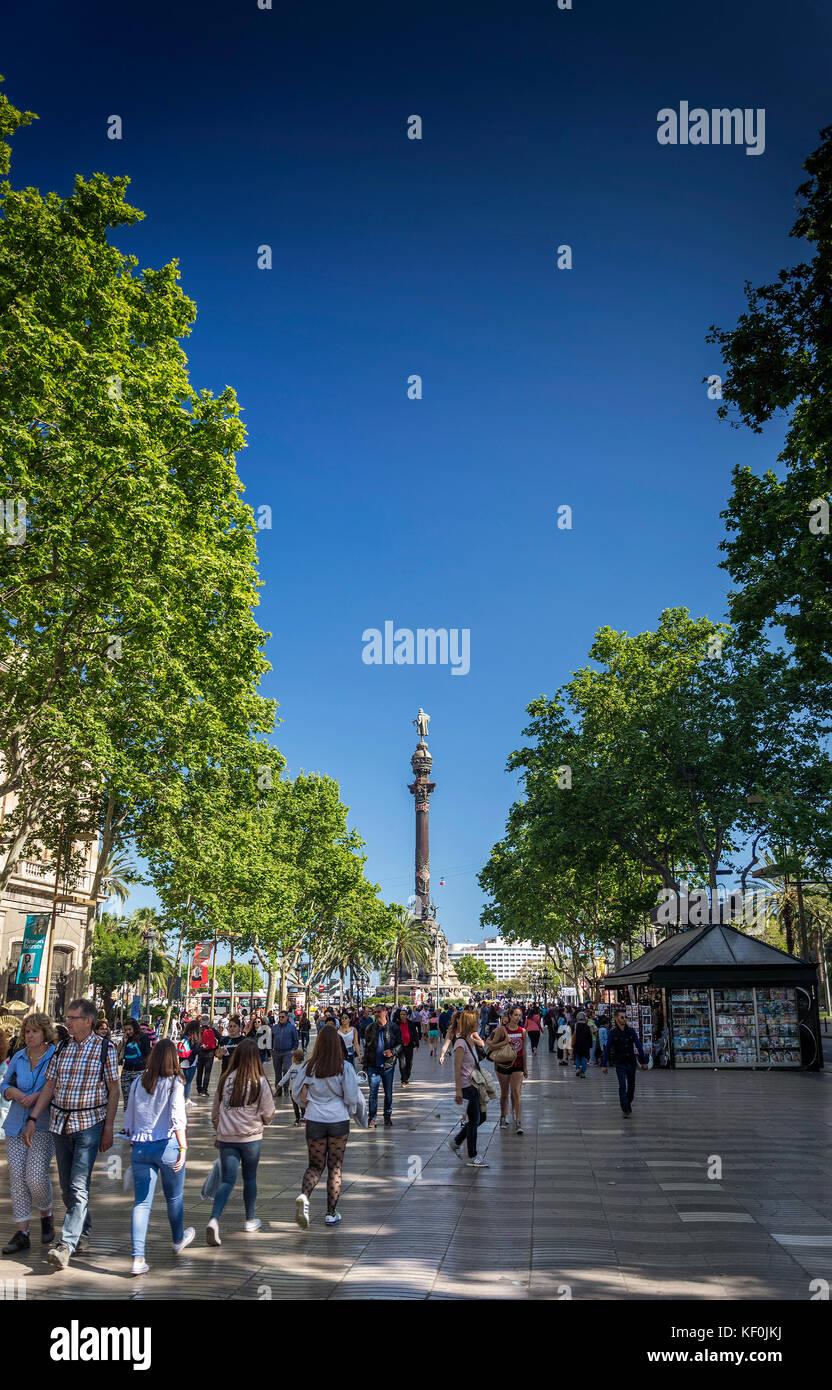 famous las ramblas pedestrian avenue and colon columbus monument landmark in downtown barcelona city spain - Stock Image