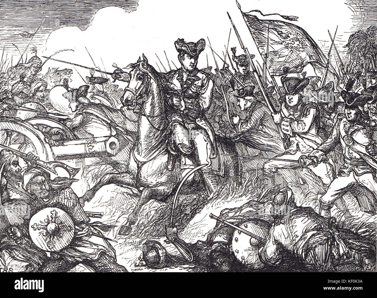 Lord Clive (Clive of India) at The Battle of Plassey, 23 June 1757 - Stock Image