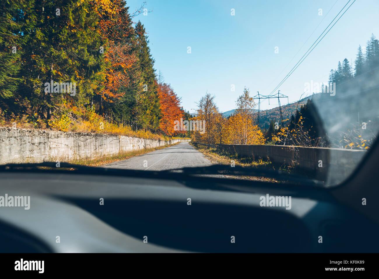 woman driving car in carpathian autumn mountains - Stock Image