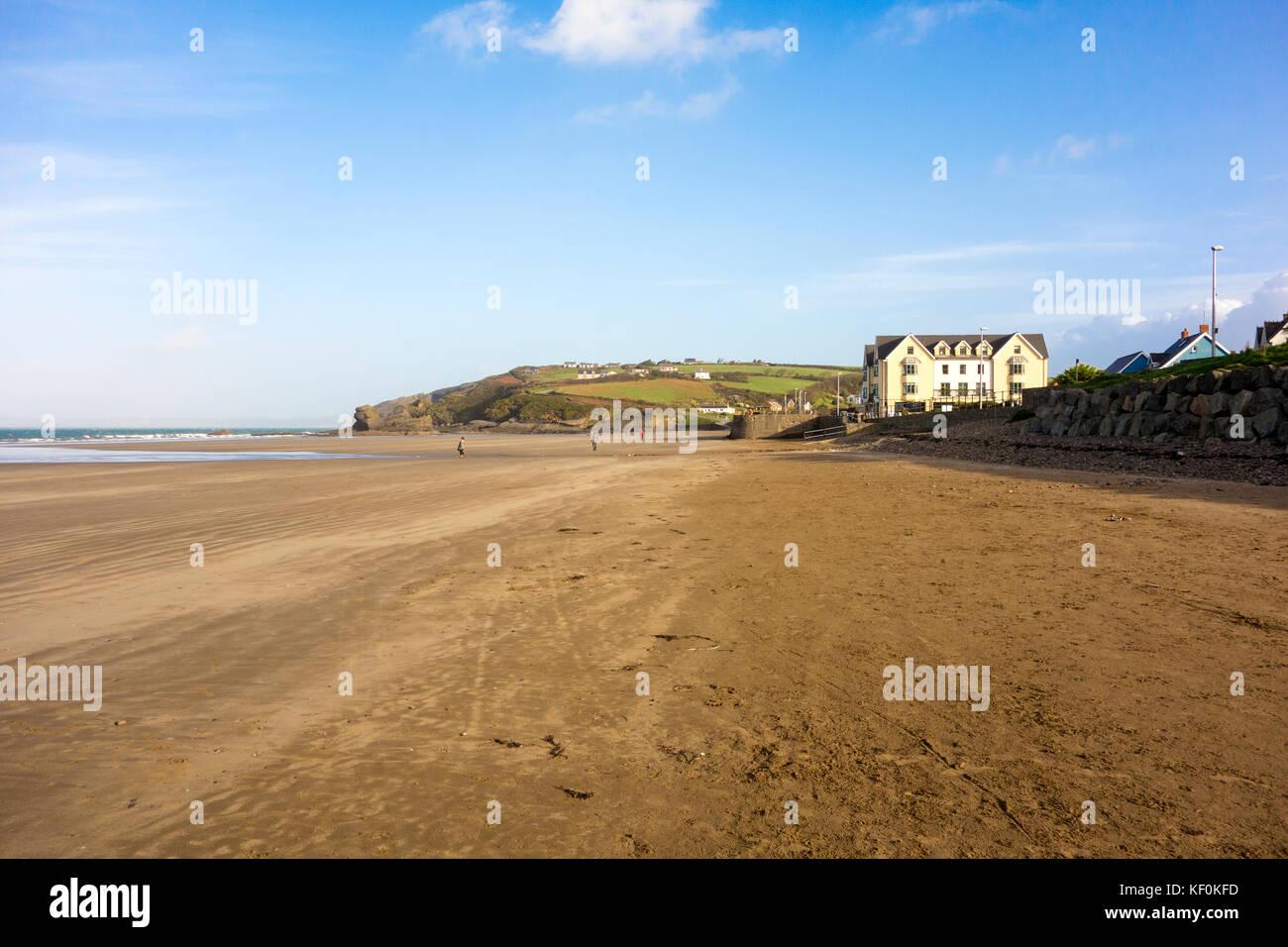 Empty beach in Broad Haven Pembroke - Stock Image