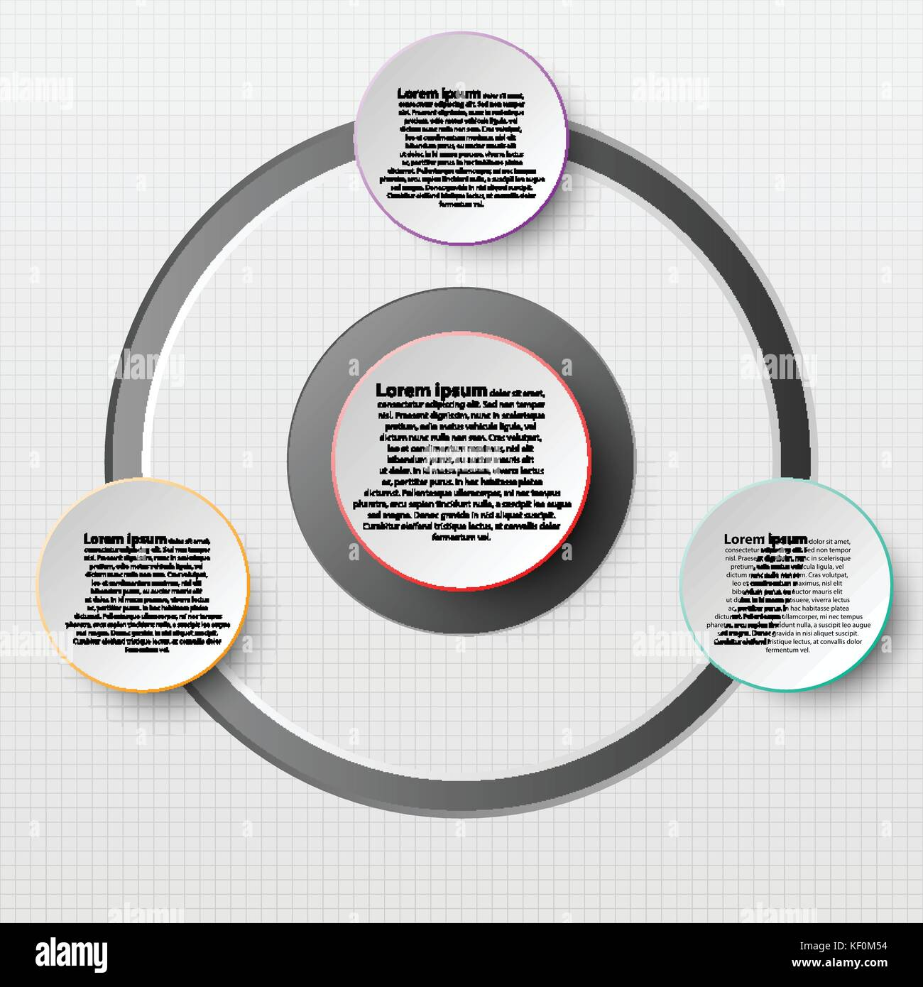 Paper Circle with colorful edge on drop shadow for website