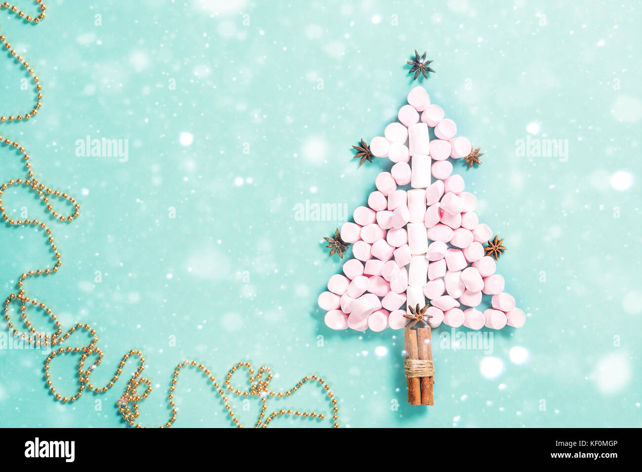Fir Tree Silhouette From Pink Marshmallows On Blue Background Christmas Concept New Year Holiday