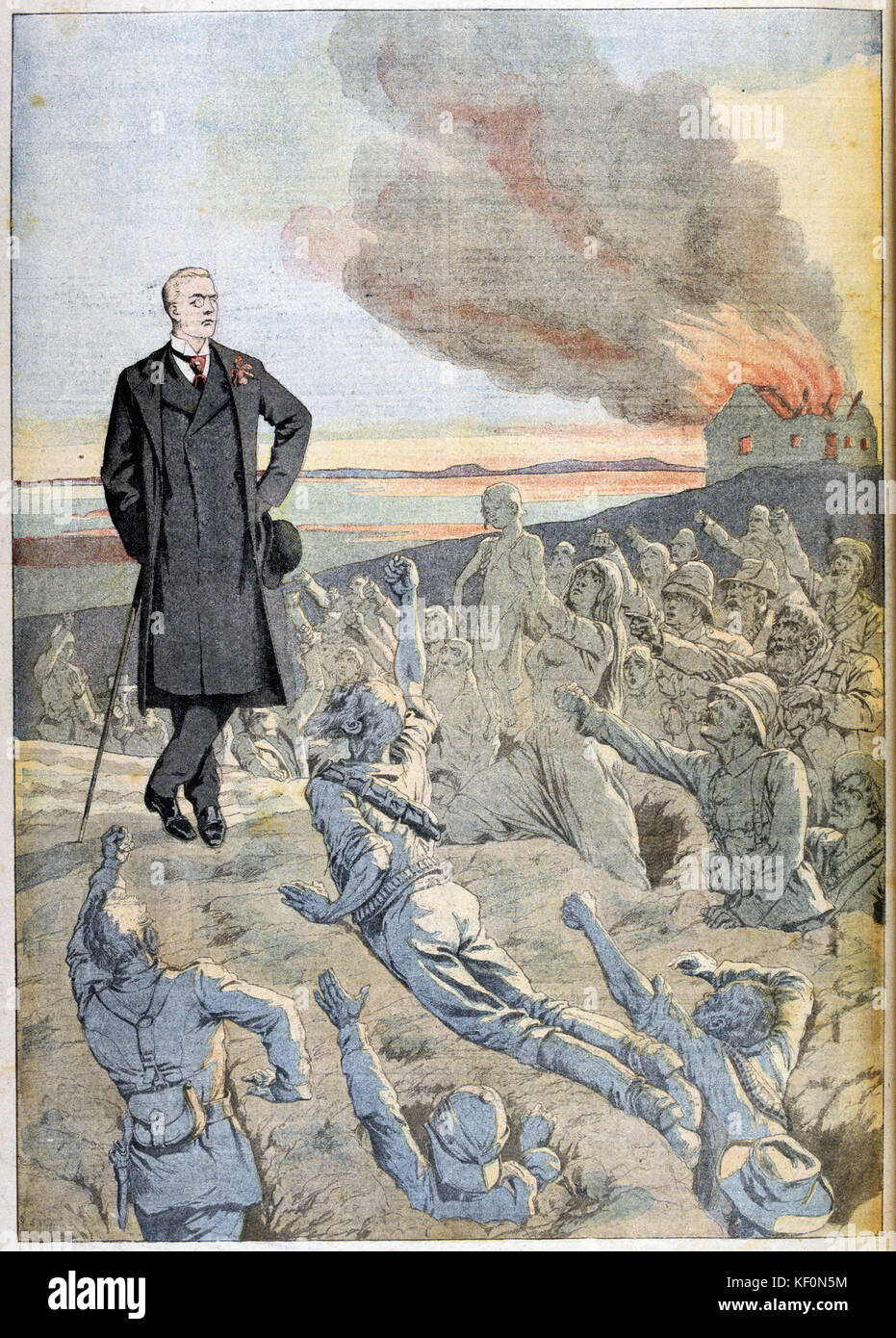 Joseph Chamberlain  British Liberal statesman. being confronted by the ghosts of the British troops killed during - Stock Image