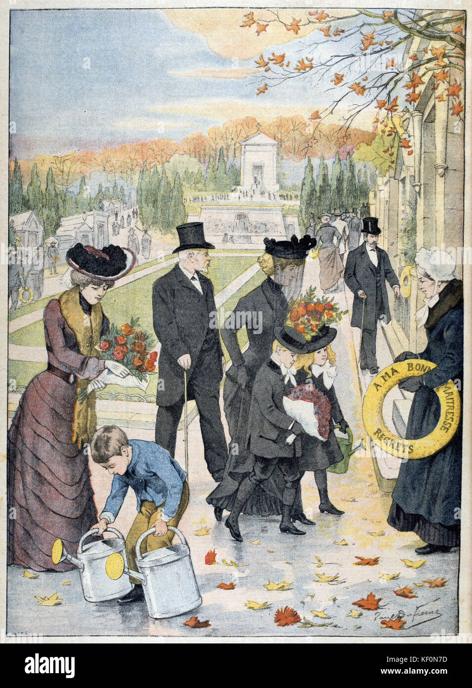 All Saints Day: Familiy visiting cemetery with flowers 'Le Petit Journal'  Paris, 9 November 1902. - Stock Image