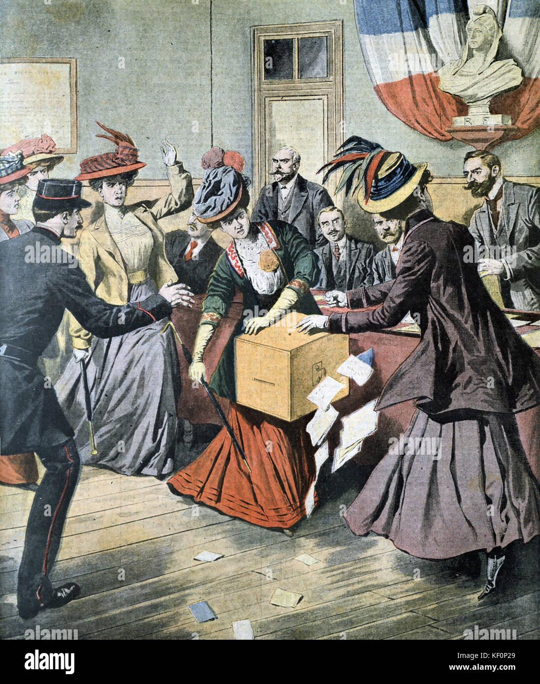 Belgian Suffragettes upsetting ballot boxes  'Le Petit Journal'  Paris, 17 May 1908 - Stock Image