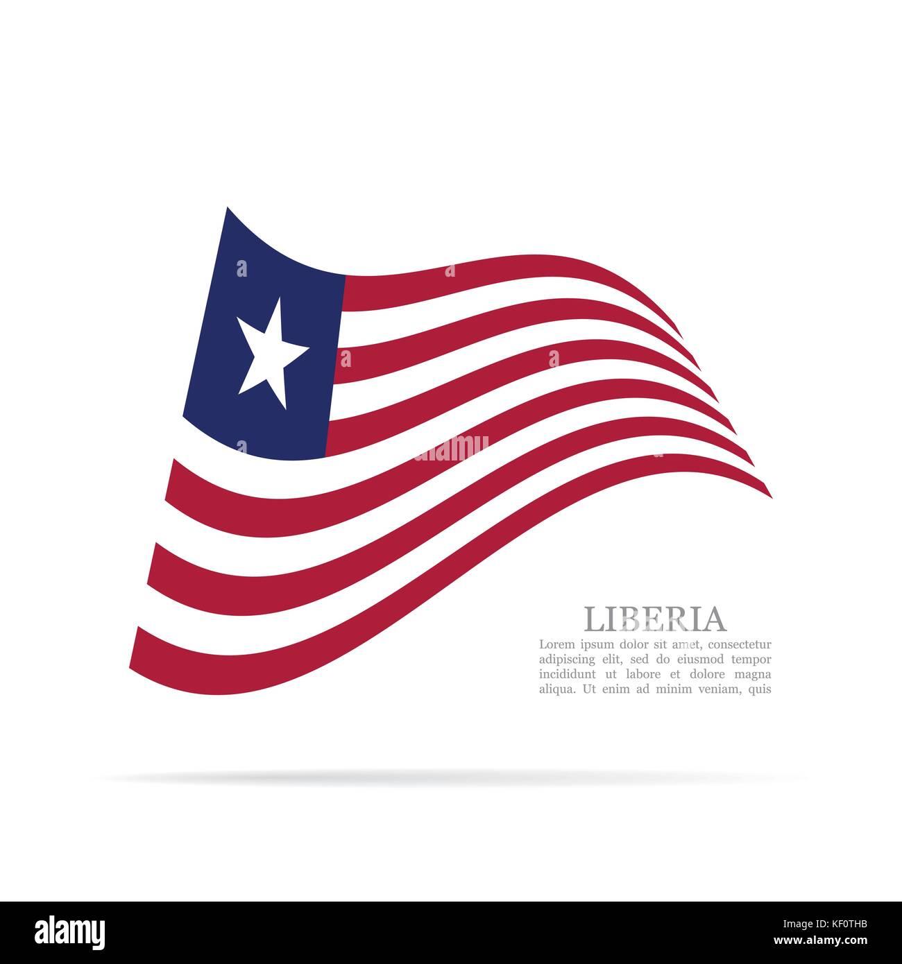 Liberia national flag waving vector icon - Stock Image