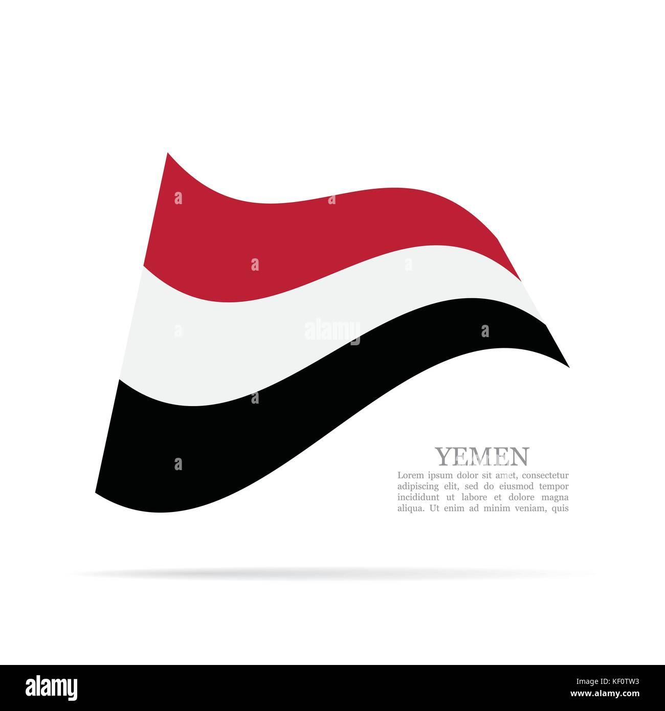 Yemen national flag waving vector icon - Stock Image