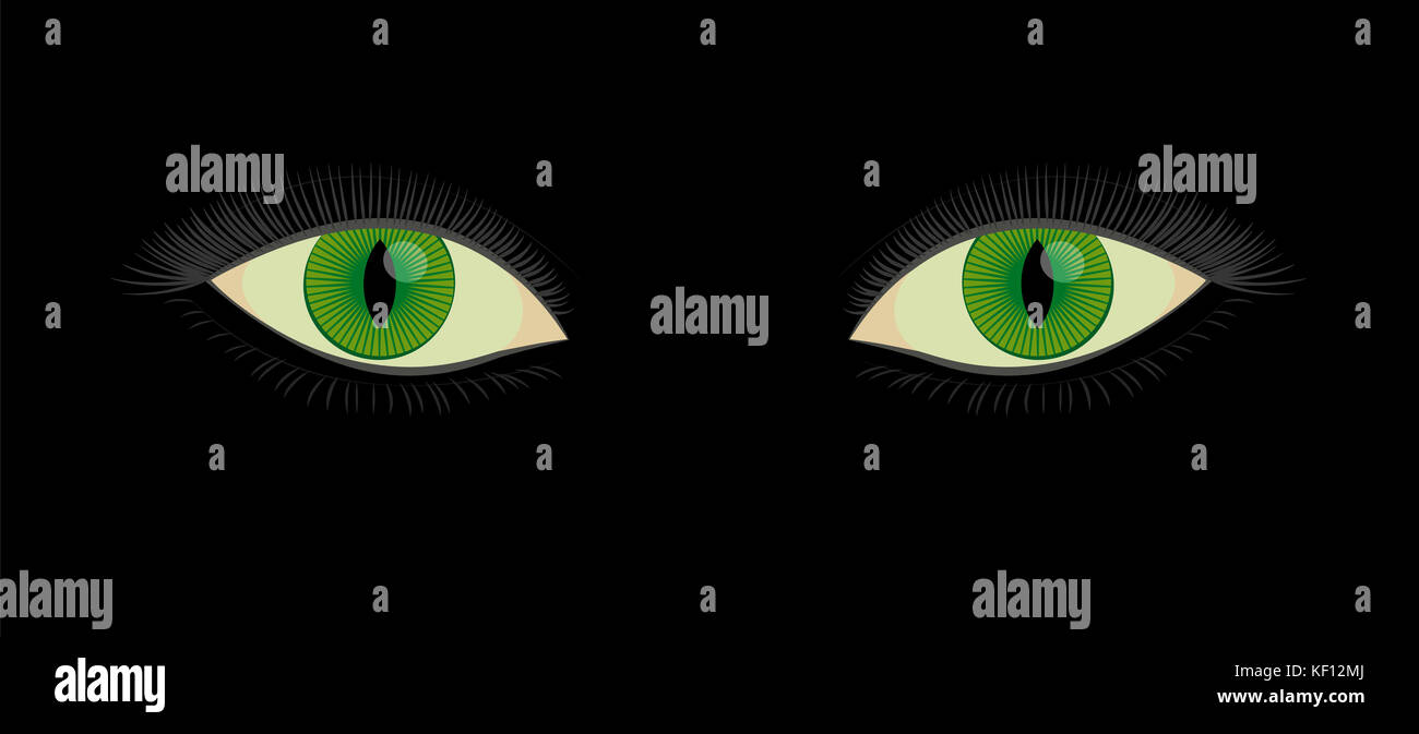 Green human cats eyes with slit pupils - beautiful, spooky, female mystic fantasy creature looking at you from darkness. - Stock Image