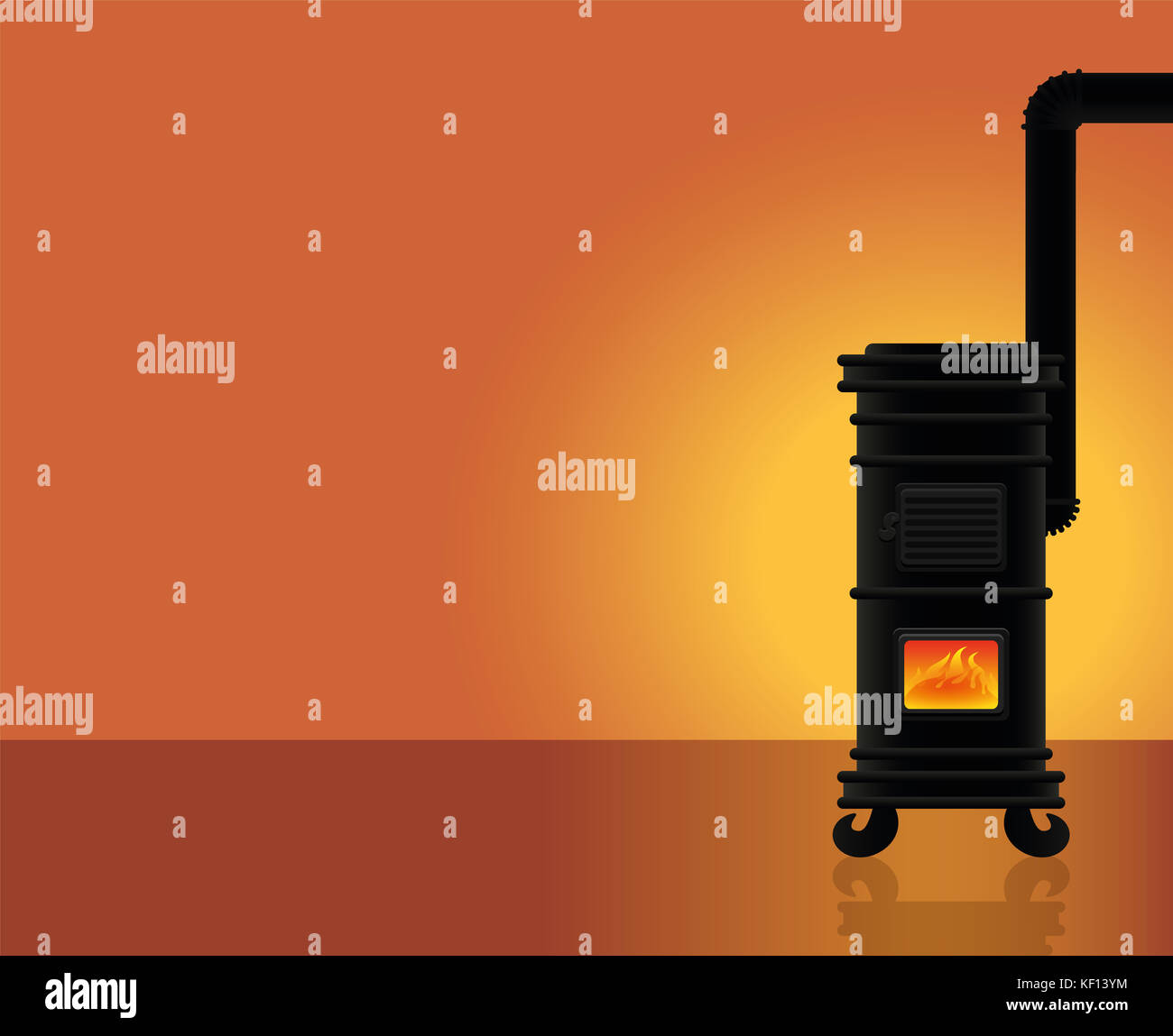 Cosy warmth - heated room with vintage cast iron stove. - Stock Image