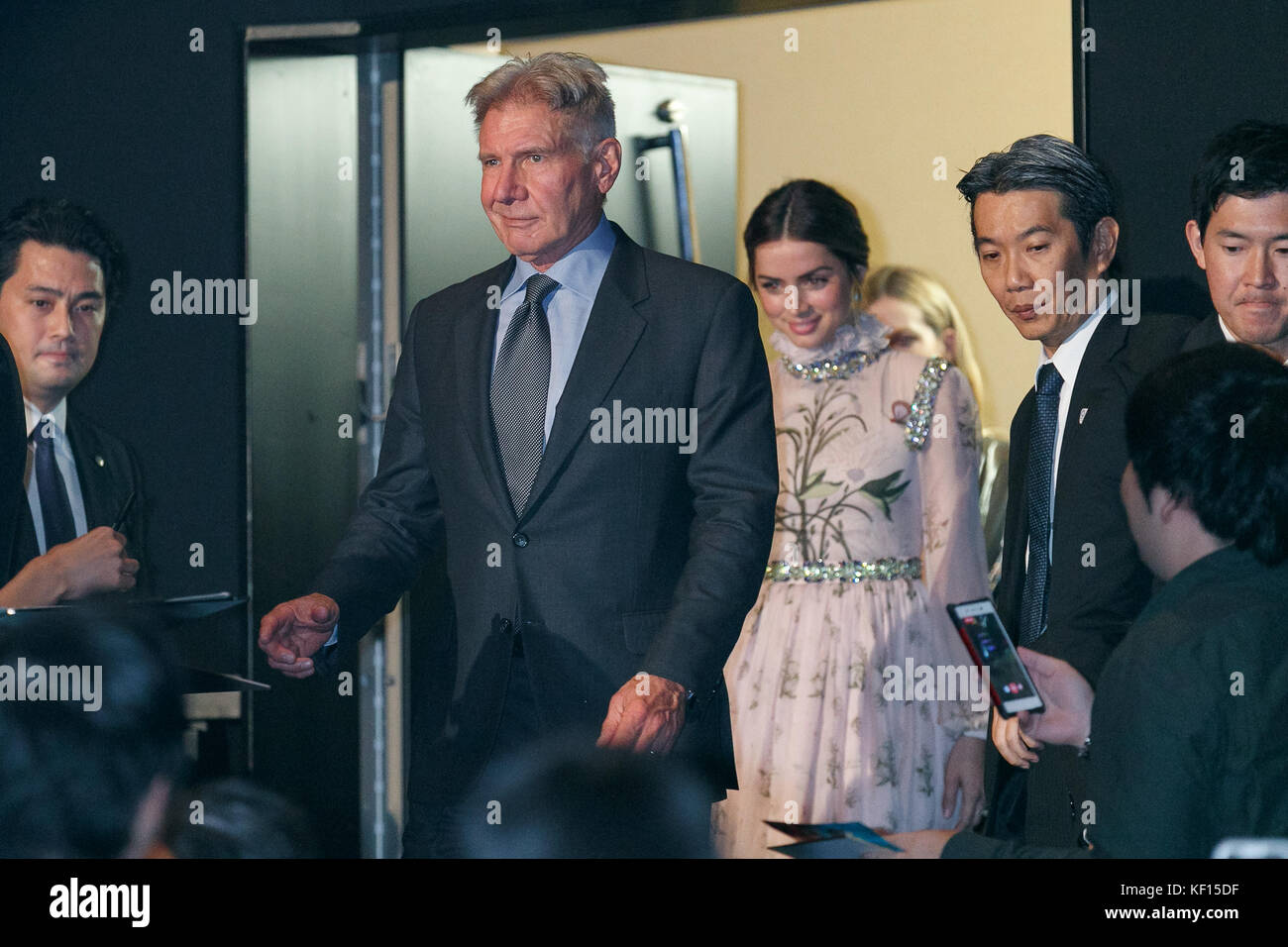 Tokyo, Japan. 24th October, 2017. American actor and film producer Harrison Ford and Ana de Armas attend a Japan - Stock Image