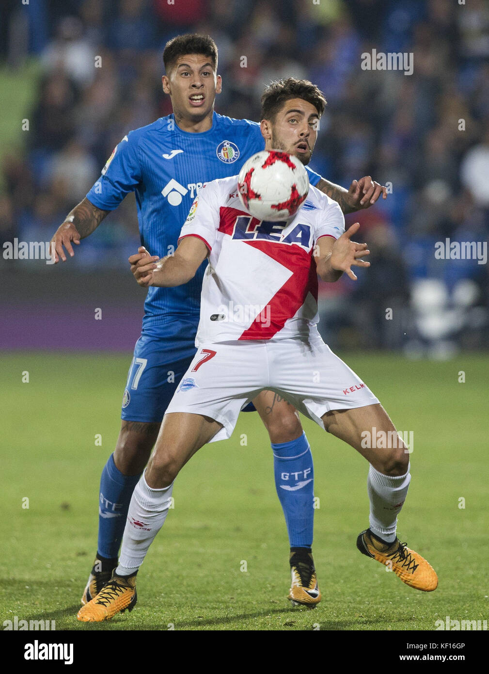 Getafe's defender Mathias Olivera (back) and Alaves' Ruben Sobrino vie for the ball during the King's - Stock Image