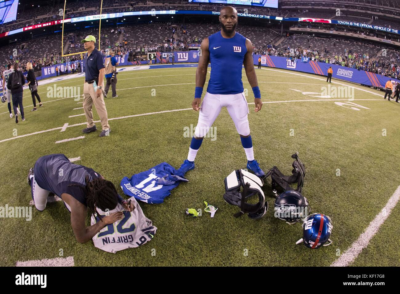 East Rutherford, New Jersey, USA. 22nd Oct, 2017. New York Giants cornerback Dominique Rodgers-Cromartie (41) waits - Stock Image