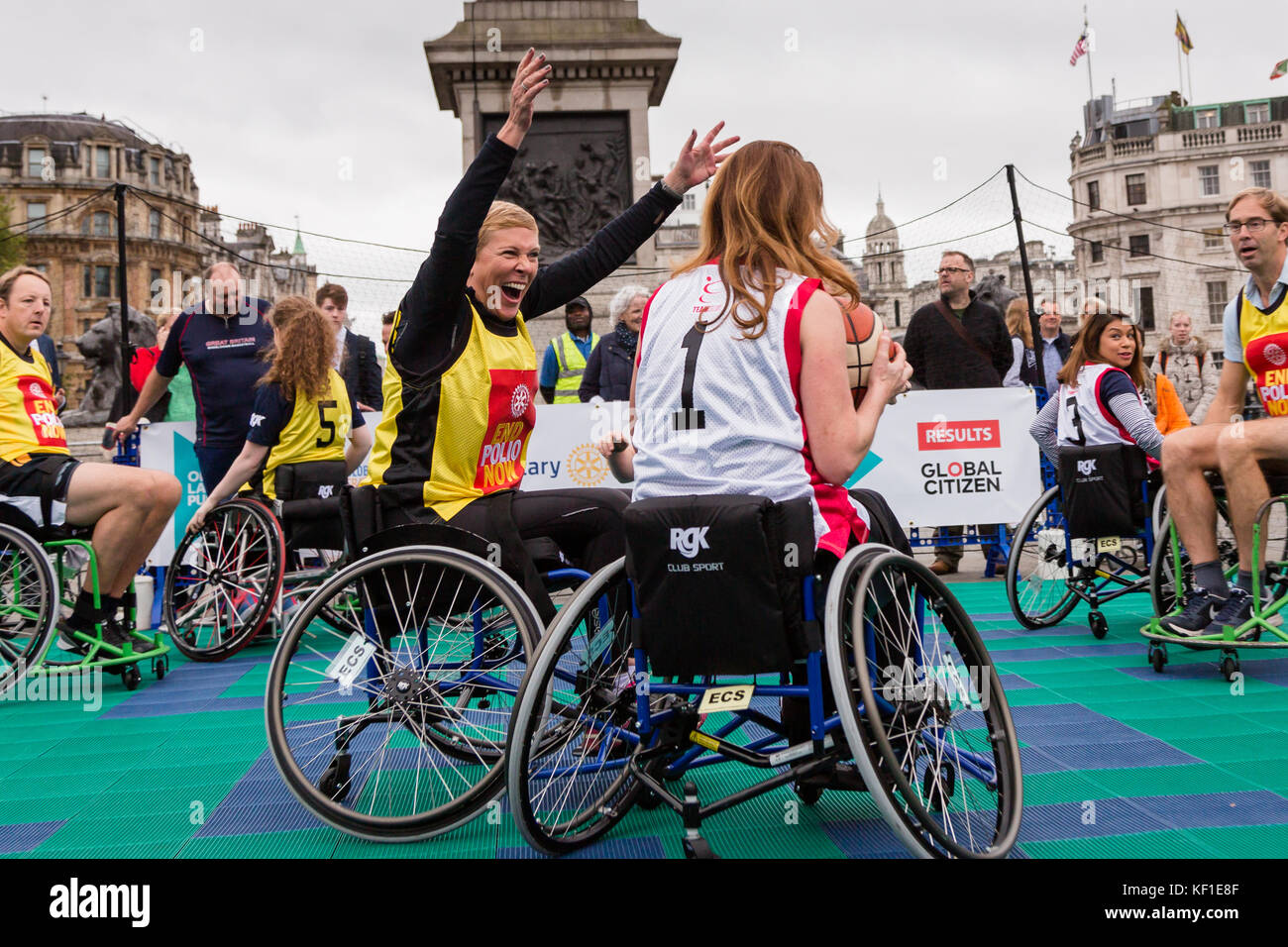 London, UK. 24th October, 2017. Conservative MP's Baroness Vere and Gillian Keegan on opposite sides in a Wheelchair - Stock Image