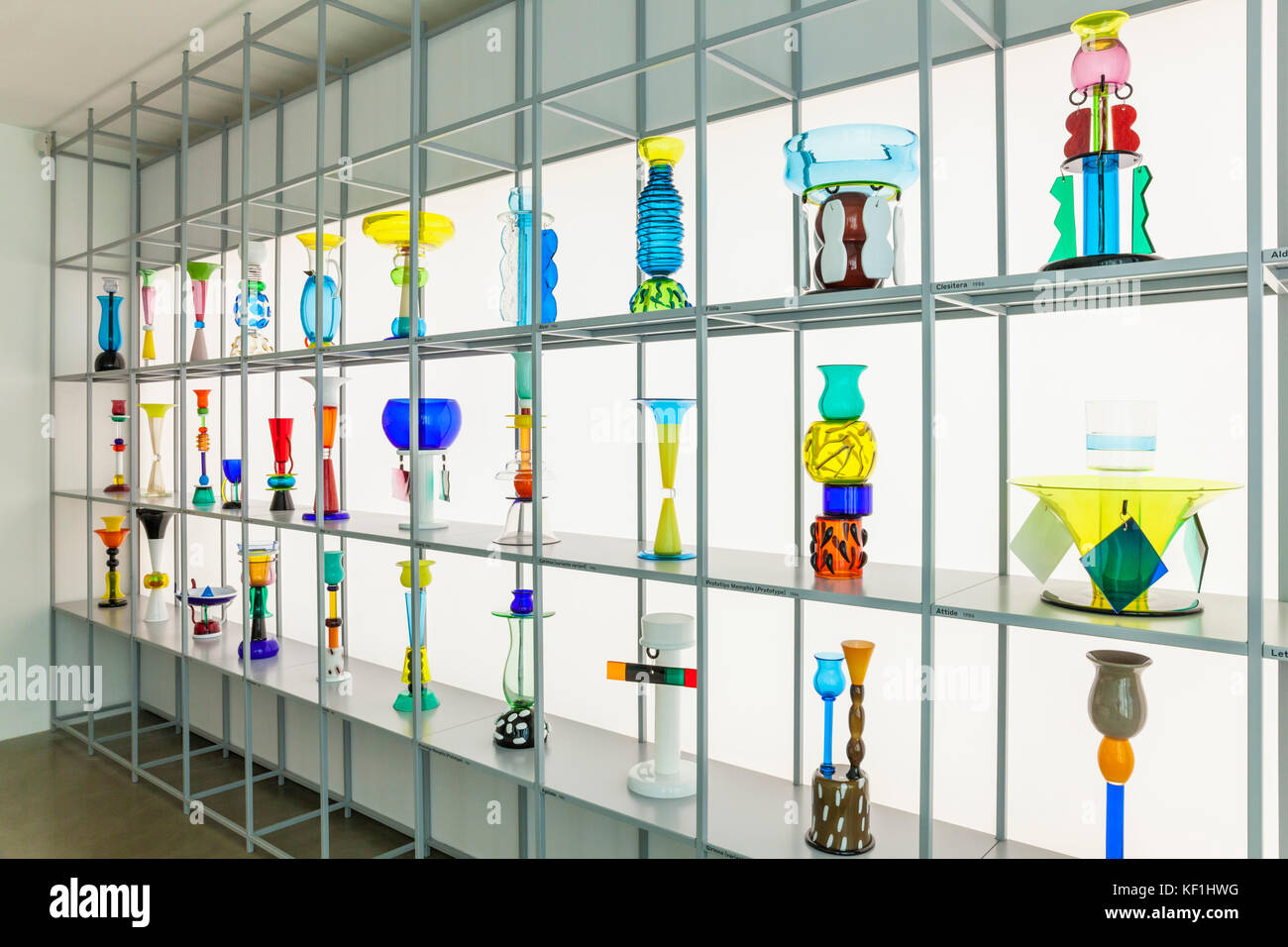 VENICE ITALY VENICE Examples of modern glass pieces Glass Exhibition Ettore Sottsass The Glass Island of San Giorgio - Stock Image