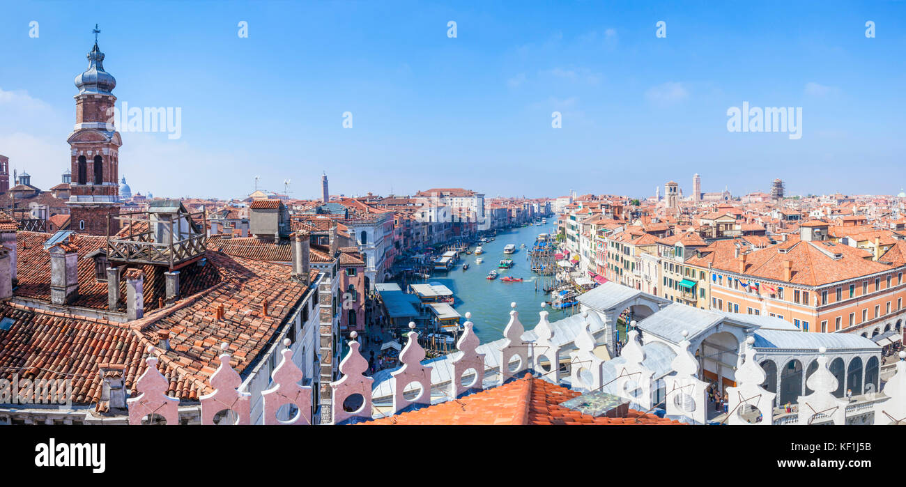 venice Italy venice Panoramic aerial view of grand canal venice rooftops venice skyline from the Fontaco dei Tedeschi - Stock Image