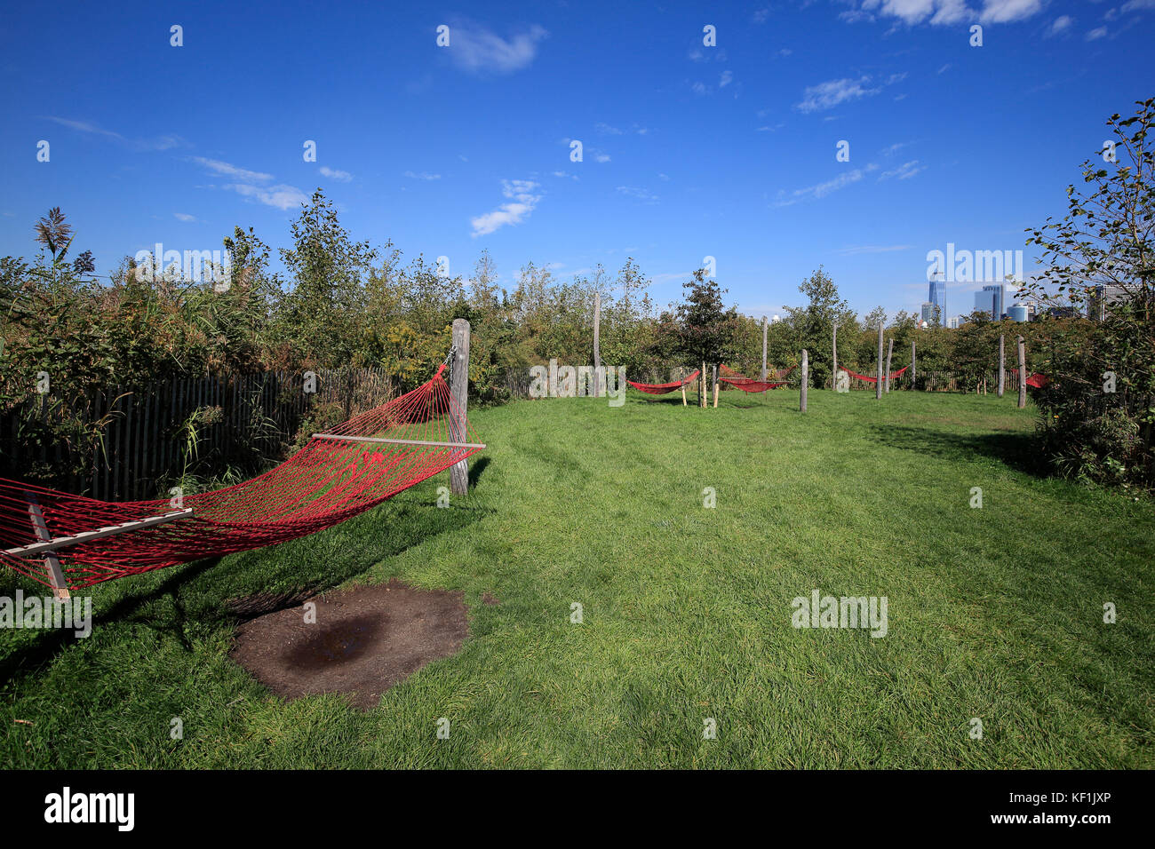 Hammock cove in The Hills Park on Governors Island, New York City - Stock Image