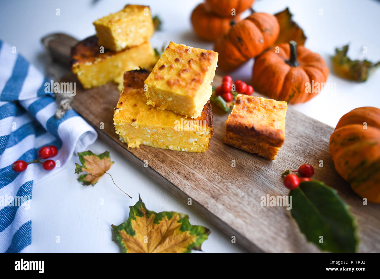 Cottage cheese and pumpkin pudding - Stock Image
