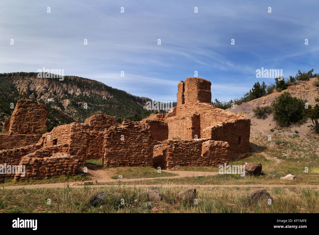 Jemez Monument in Jemez Springs site of a 500 year old village, Giusewa and the Catholic mission of San Jose de - Stock Image