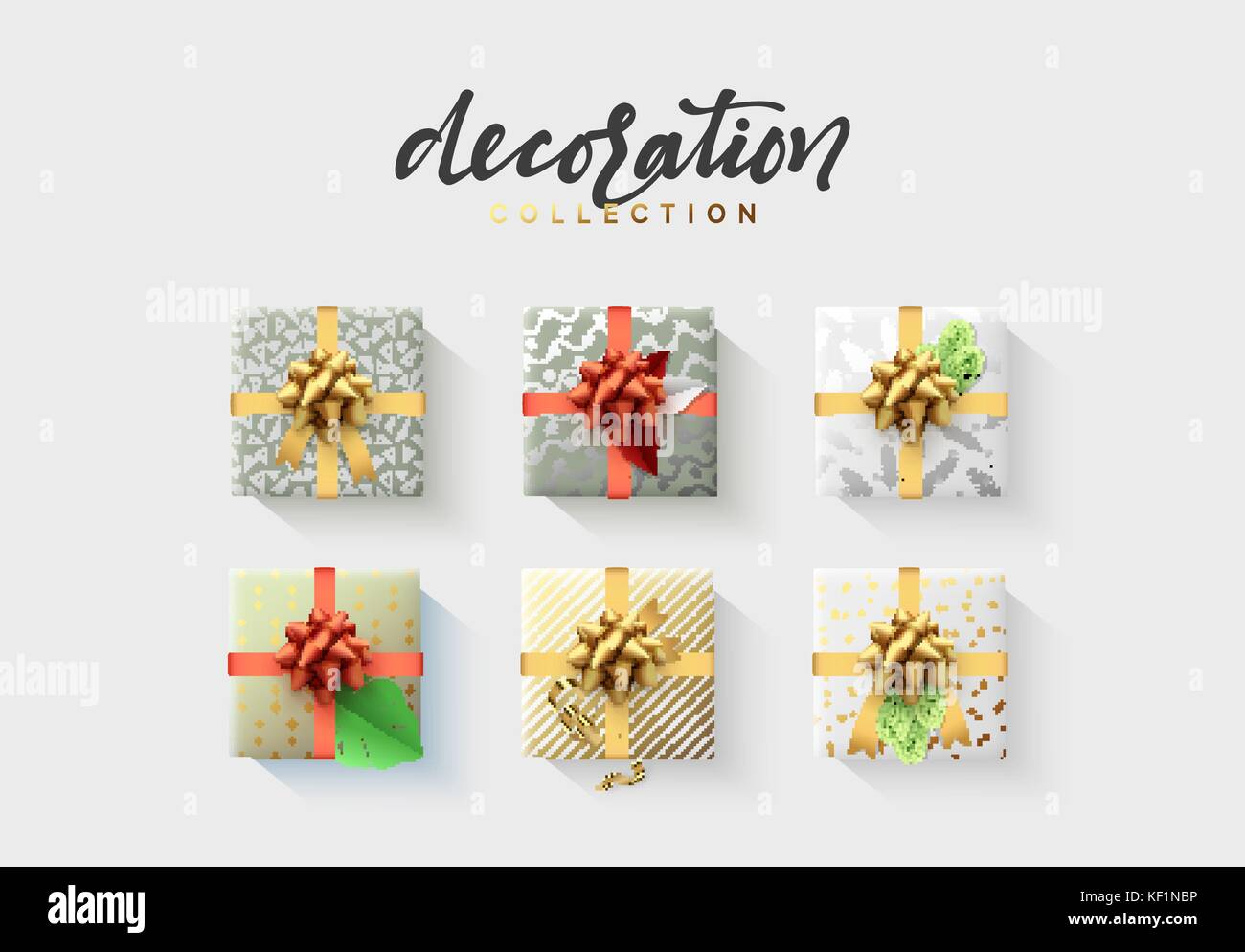 Set of colorful wrapped gift boxes Lots of presents. - Stock Vector