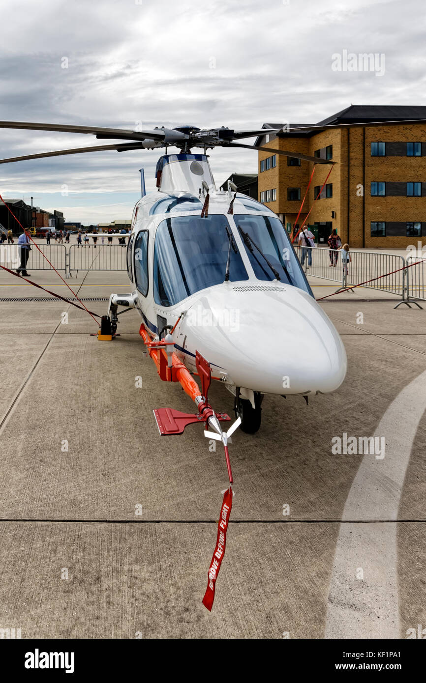 The UK Defence Research Organisation Empire Test Pilots School MOD Boscombe Down  QinetiQ Agusta A109E Power Helicopter - Stock Image