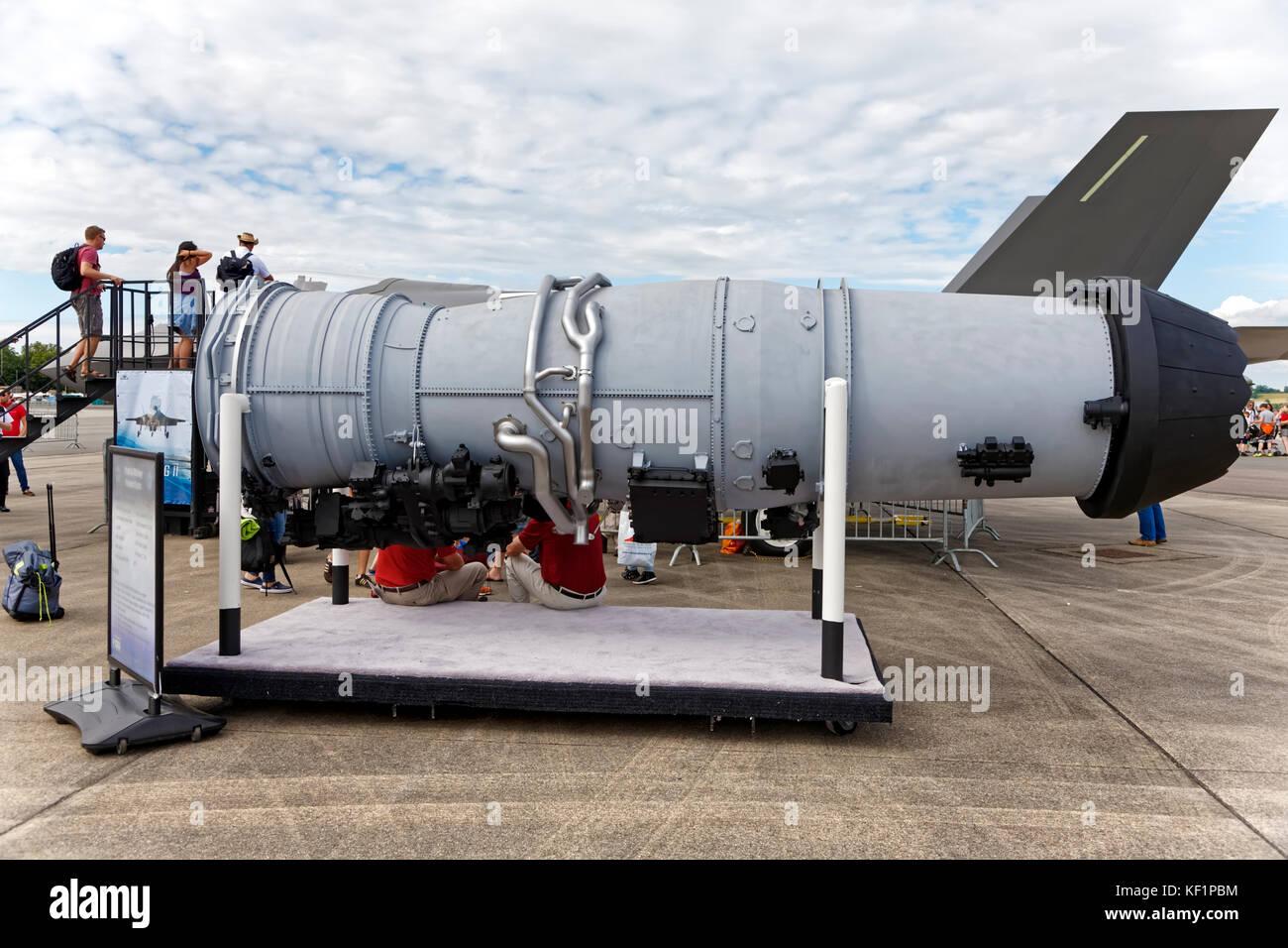 An F-35B Lightning II Pratt & Whitney F135 Jet Engine at the RNAS Yeovilton International Air Day 2017 - Stock Image