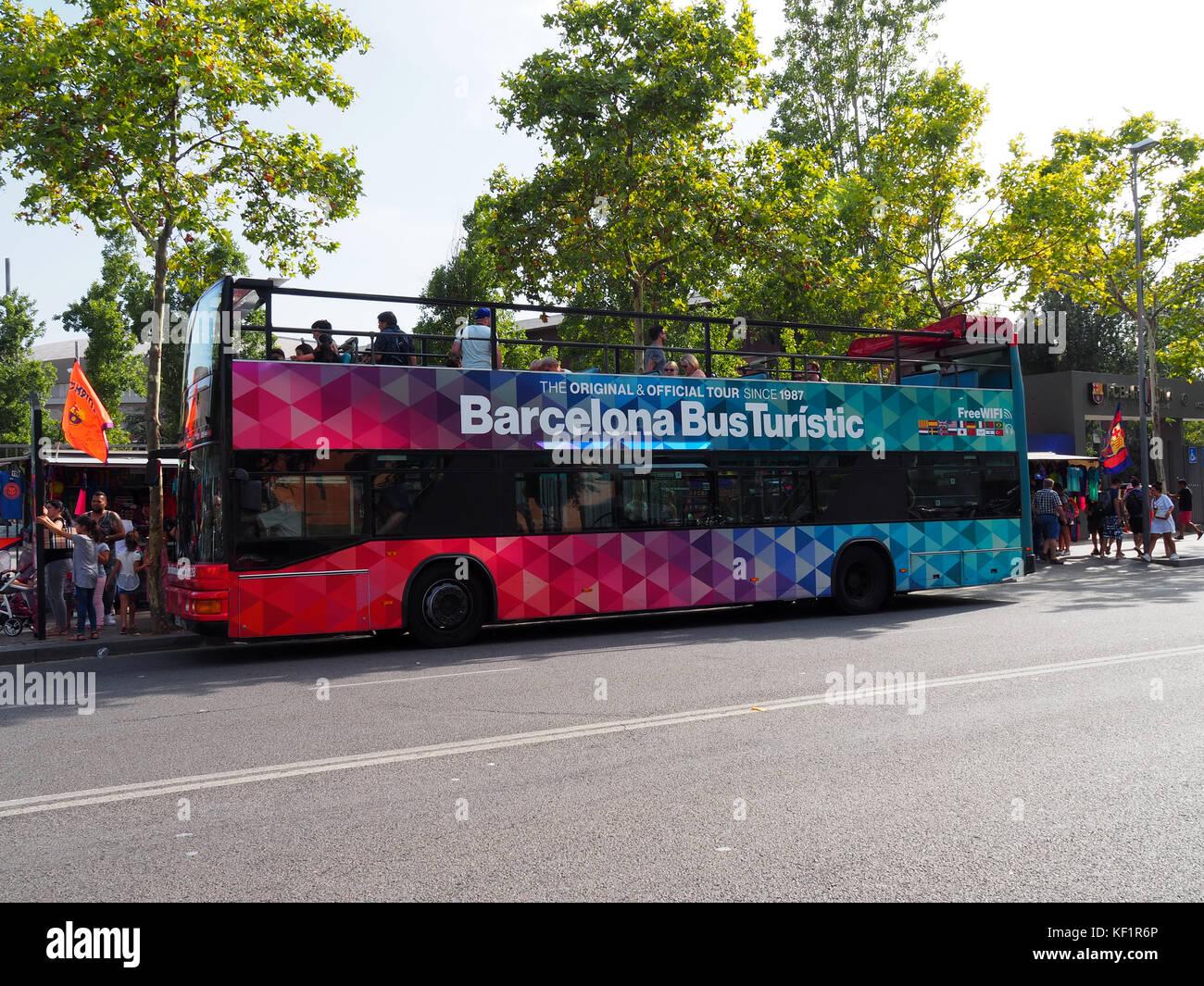 Tourist bus near Camp Nou stadium in Barcelona, Spain - Stock Image