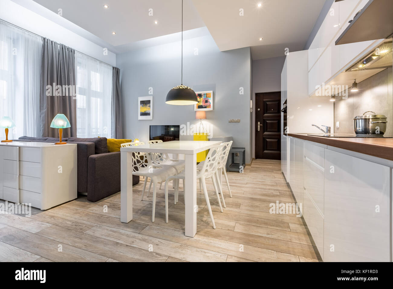 Modern Studio Flat With Kitchen Open To Living Room Stock Photo Alamy