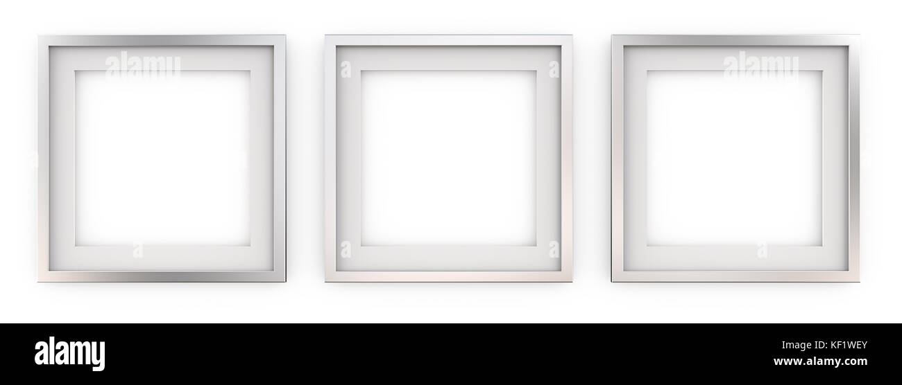 Row of 3 Square Metal Frames with white Passe-partout. Blank for Copy Space. 3D render. - Stock Image