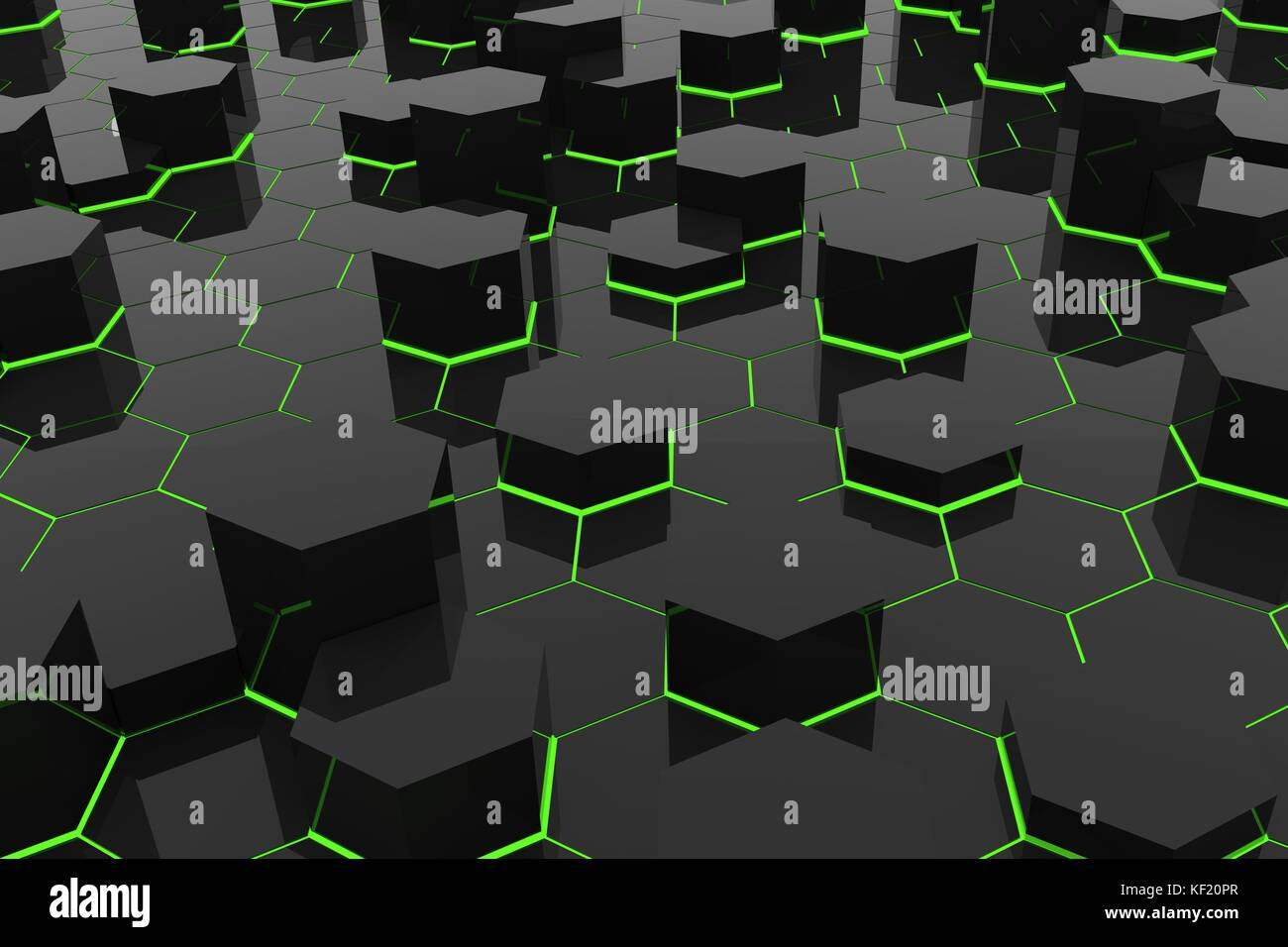 Green Light Abstract Background In Black Hexagons Geometric