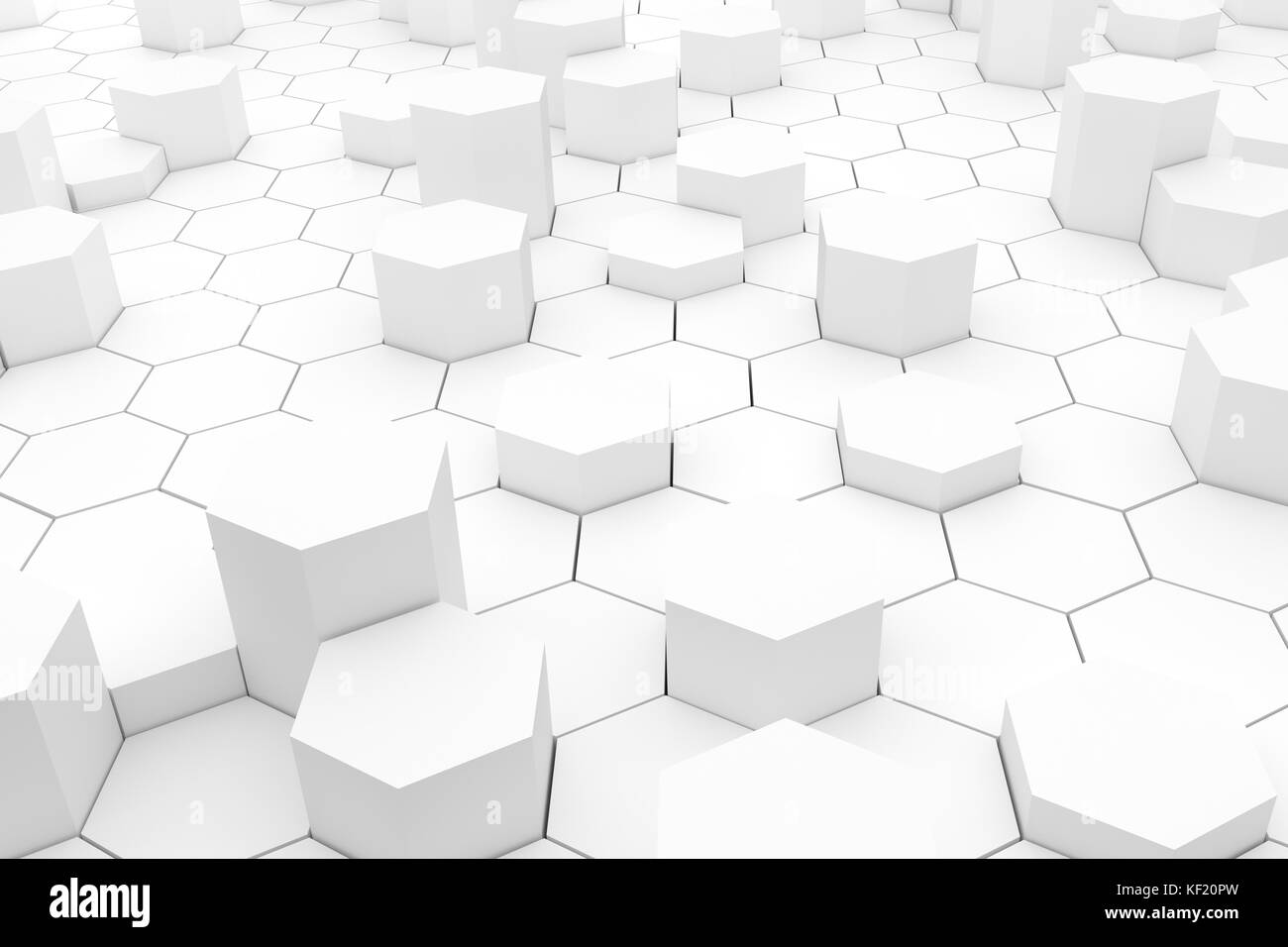 Light abstract background hexagons in geometric style in 3D rendering - Stock Image