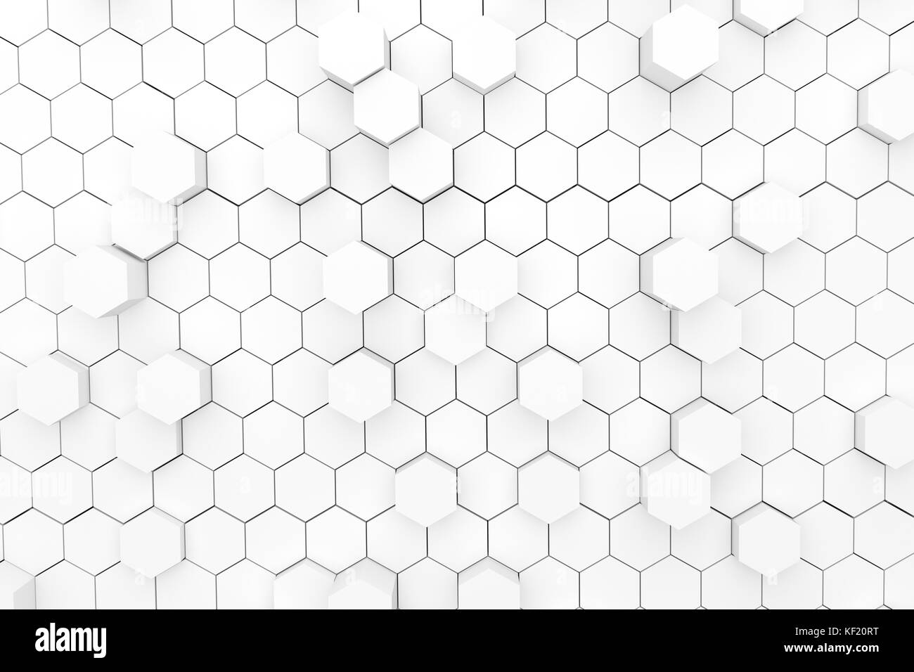 white abstract background hexagons geometric style in 3D rendering - Stock Image