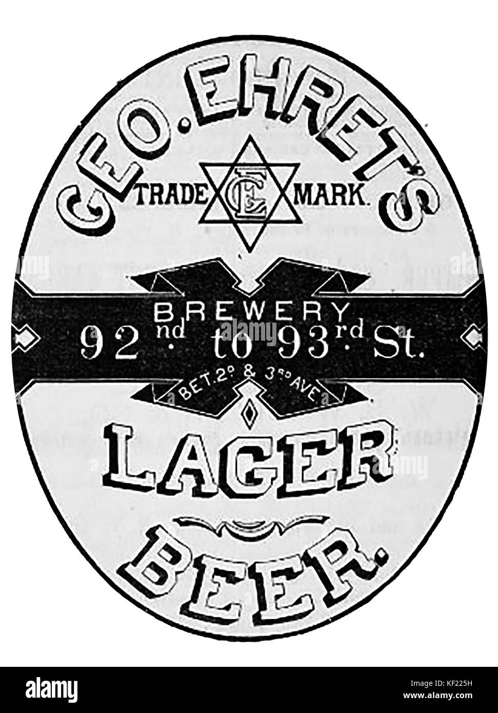 An 1890 Victorian USA advertisement for George Ehret's lager beer and brewery .-Hexagram -Star of David trademark - Stock Image