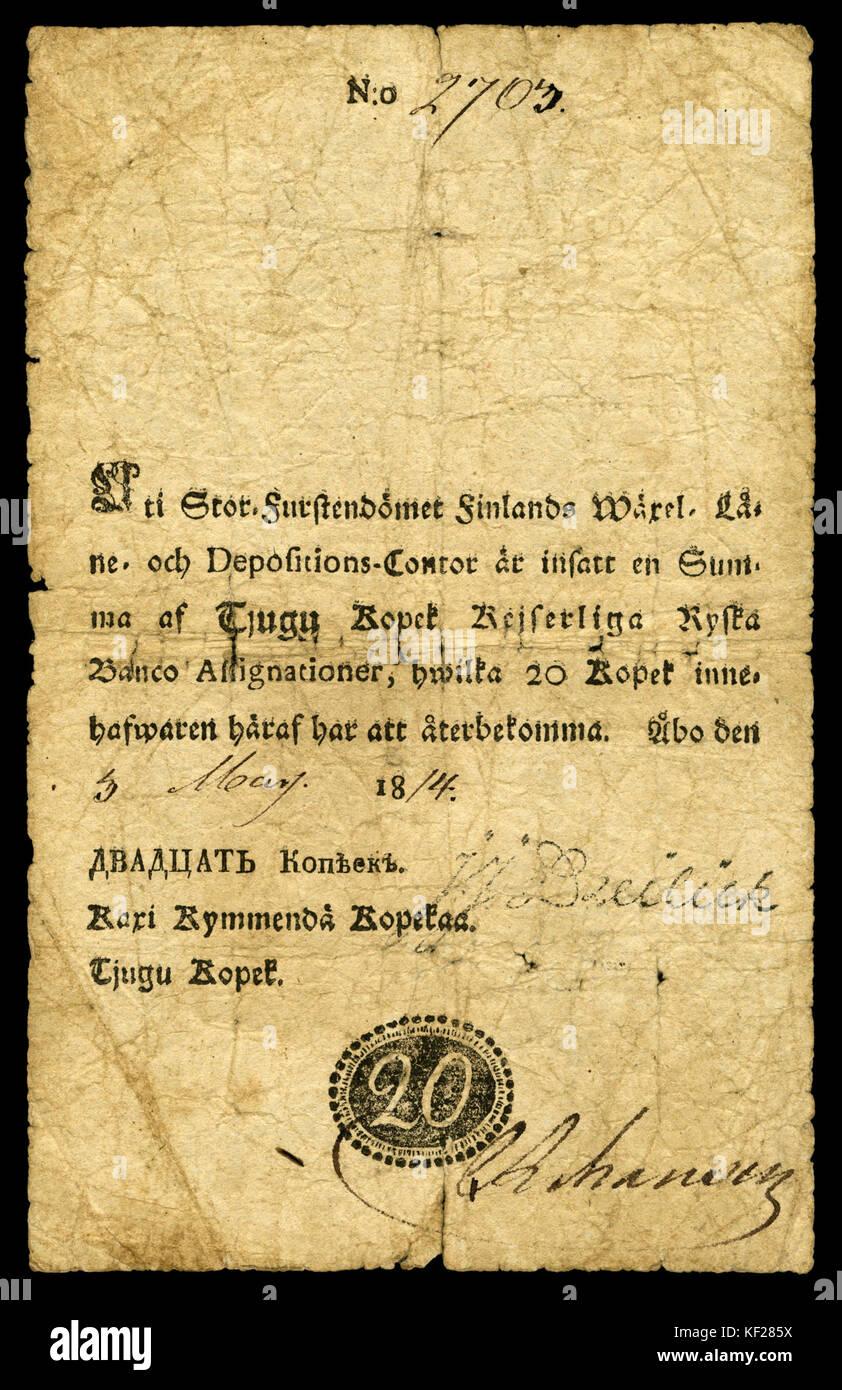 FIN A13 Grand Duchy Finland 20 Kopek (1814) - Stock Image