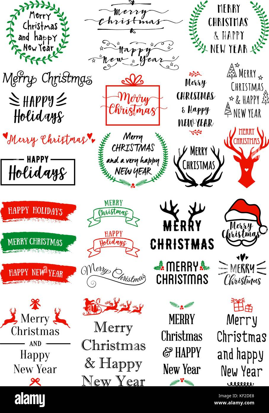 Christmas text overlays for cards, banners, tags, set of vector graphic design elements - Stock Image