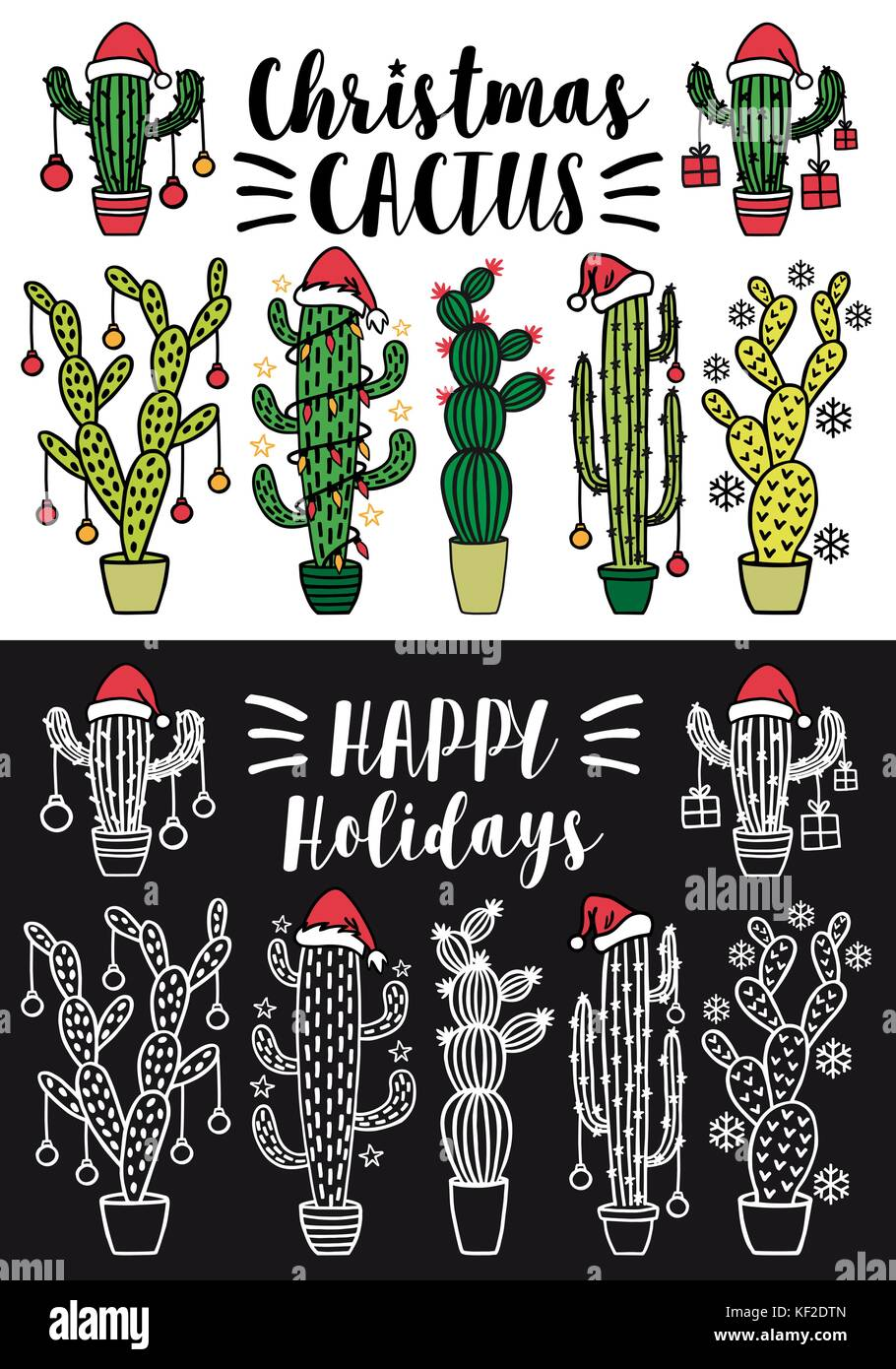 Cactus Christmas trees with Santa hat and Xmas decoration, set of vector design elements - Stock Image