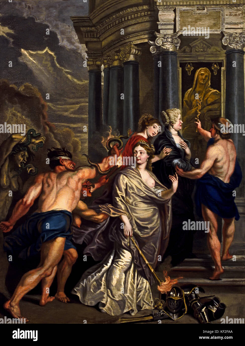 The Queen Opts for Security - The Marie de' Medici Cycle 1622-1624  by Peter Paul Rubens commissioned by Queen - Stock Image