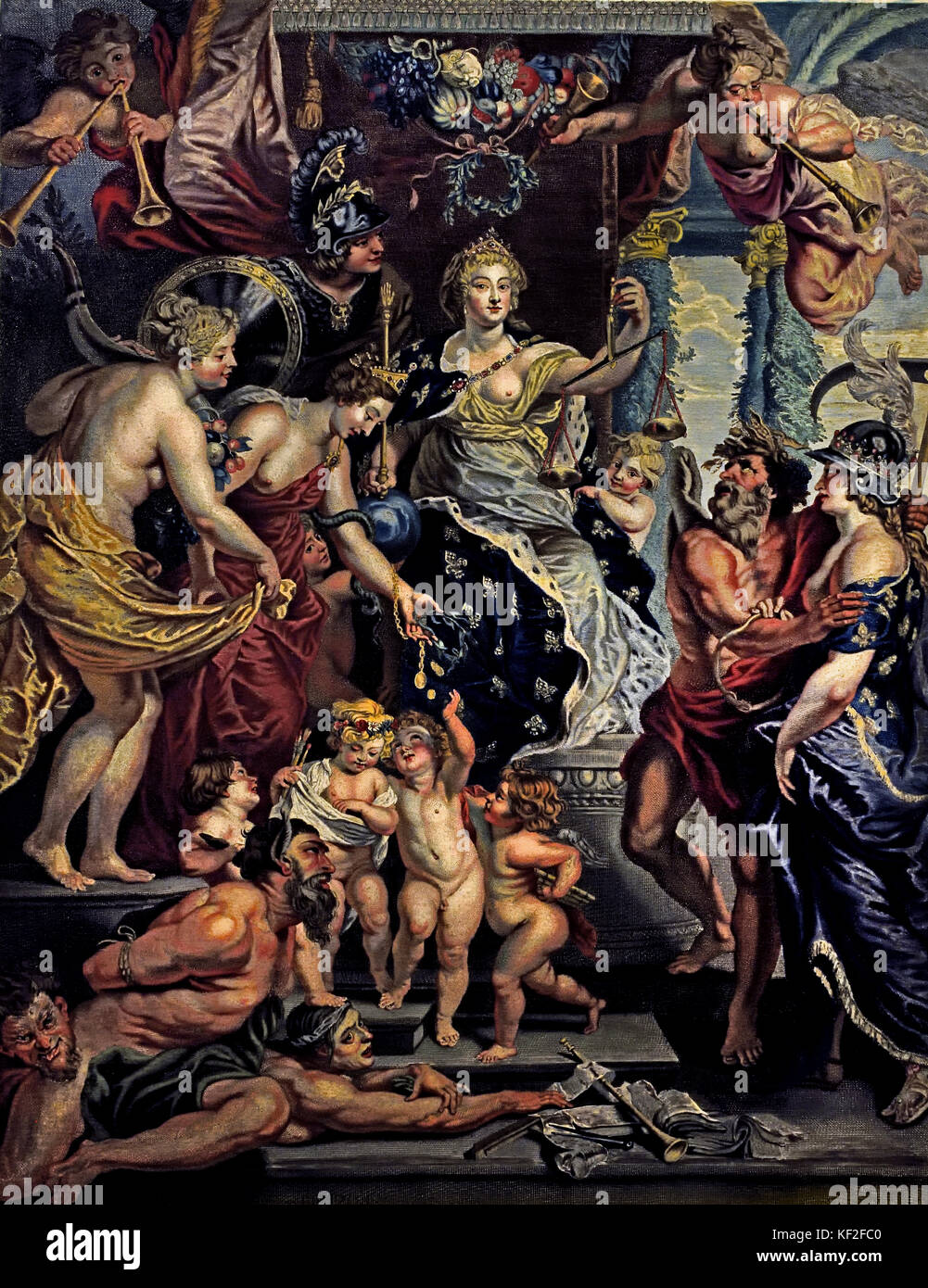 The Felicity of the Regency of Marie de' Medici  - The Marie de' Medici Cycle 1622-1624  by Peter Paul Rubens - Stock Image