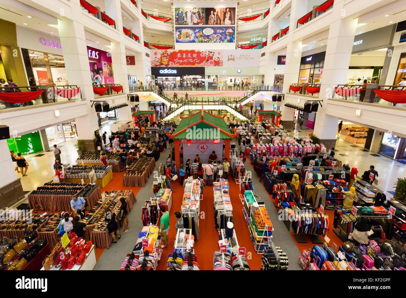 Interior of Berjaya Times Square shopping mall in Bukit Bintang, Kuala Lumpur, Malaysia. - Stock Image