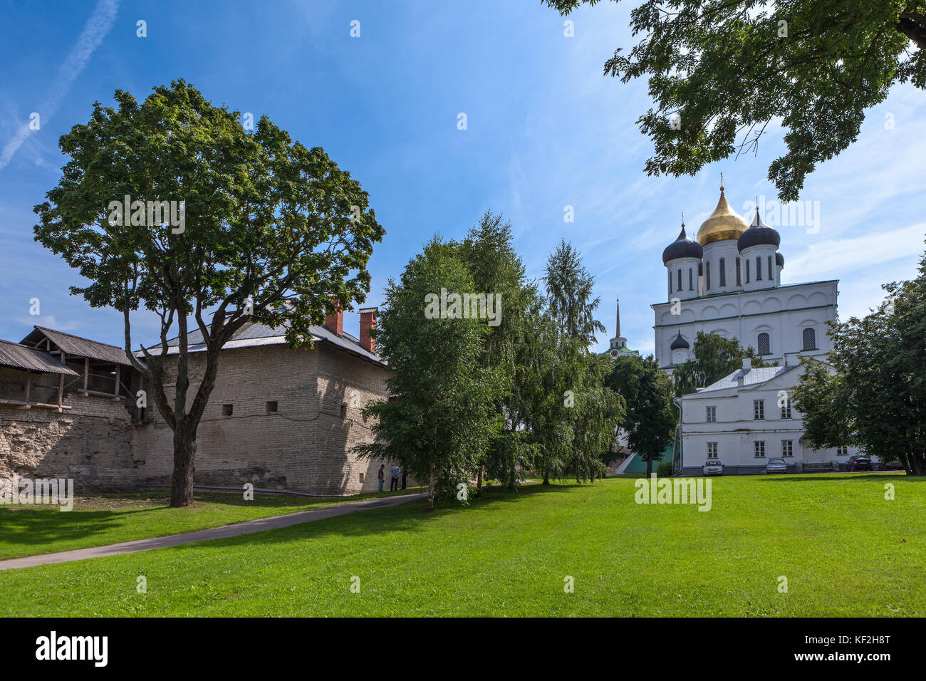 PSKOV, RUSSIA-CIRCA AUG, 2017: View from the Trinity Cathedral from the inner area. The Pskov Krom or Kremlin - Stock Image