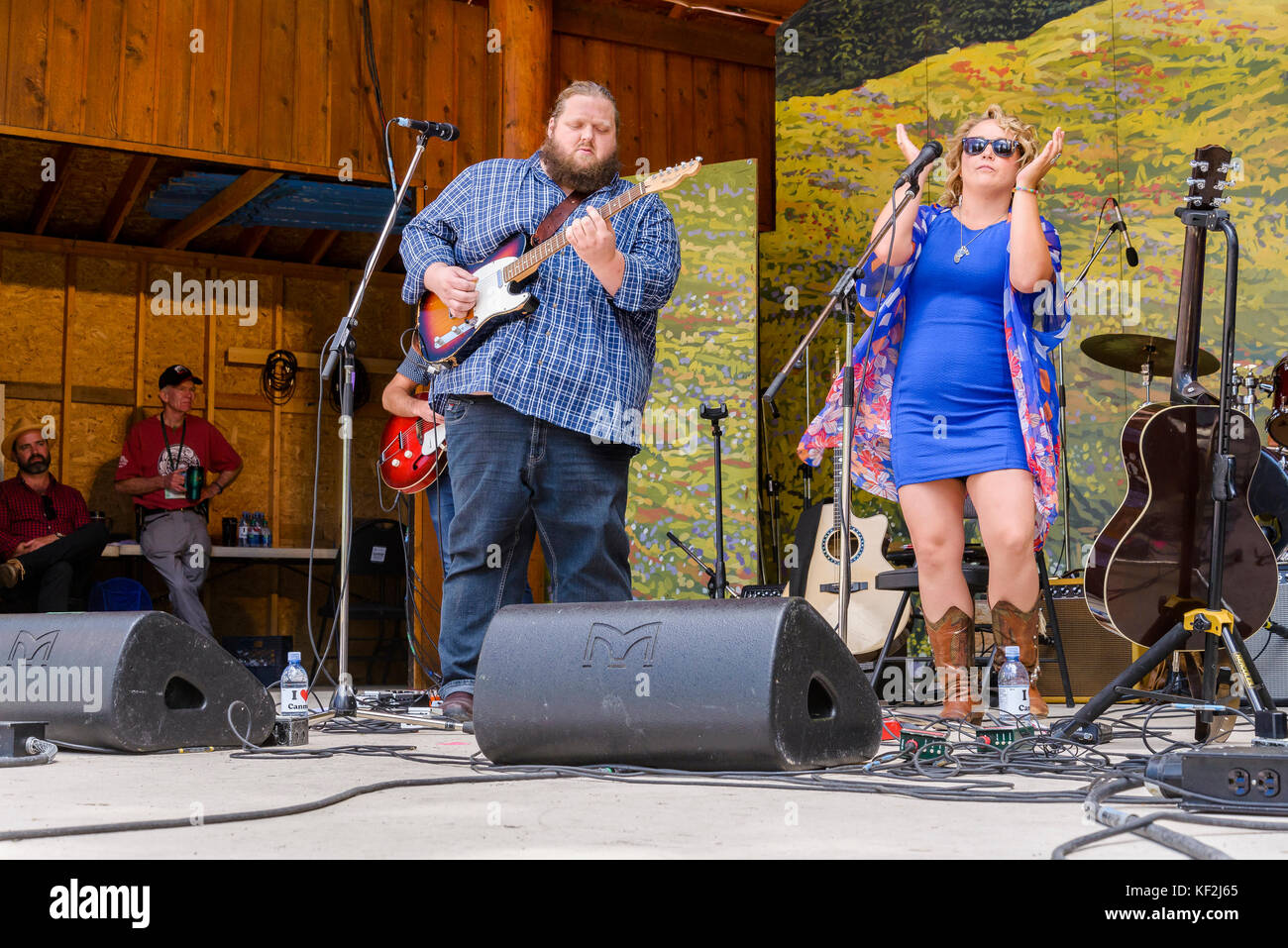 Samantha Martin and Matt Anderson performing at Canmore Folk Music Festival, Canmore, Alberta, Canada - Stock Image