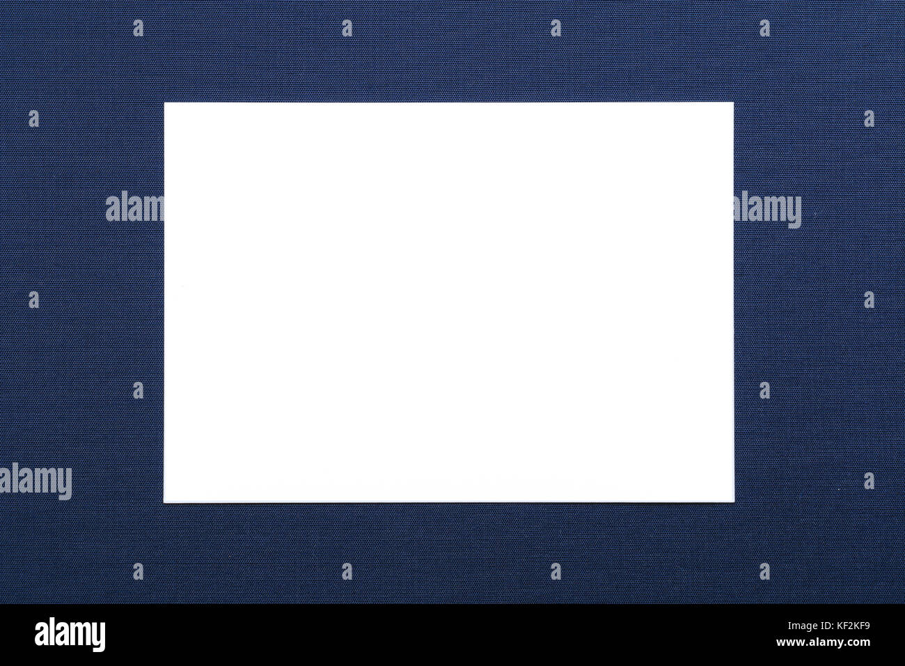 blank white card on navy blue background - Stock Image