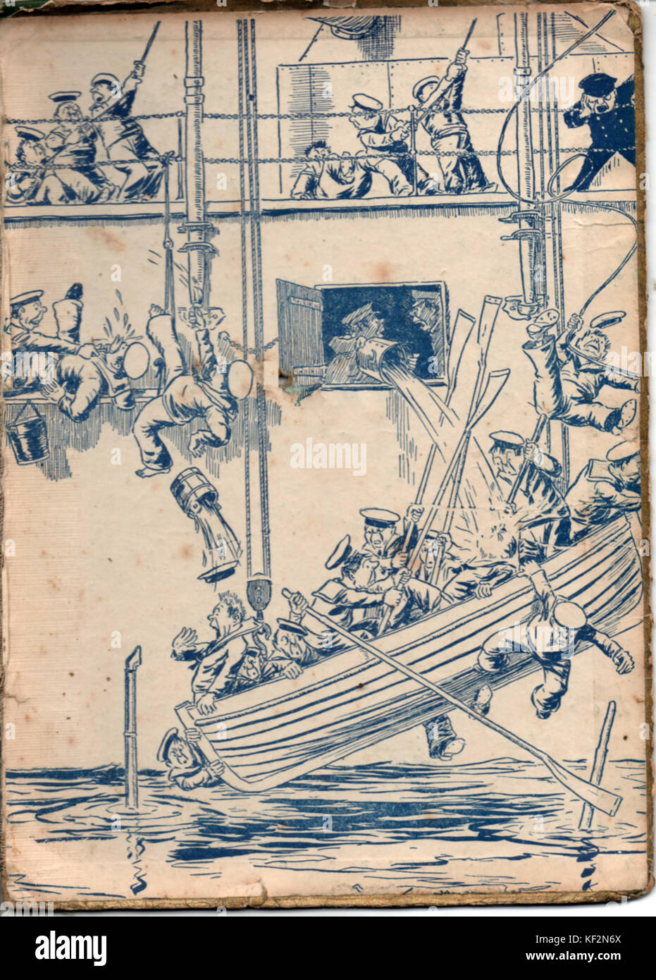1919 Royal Navy cartoon figures from the inner cover pages of  the British WWI naval book 'The Wonder Book of - Stock Image